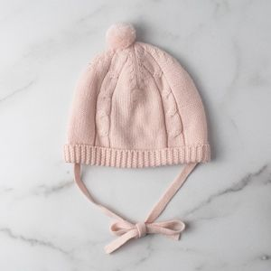 Baby Girl Cable Pink Fine Knit Pompom Hat